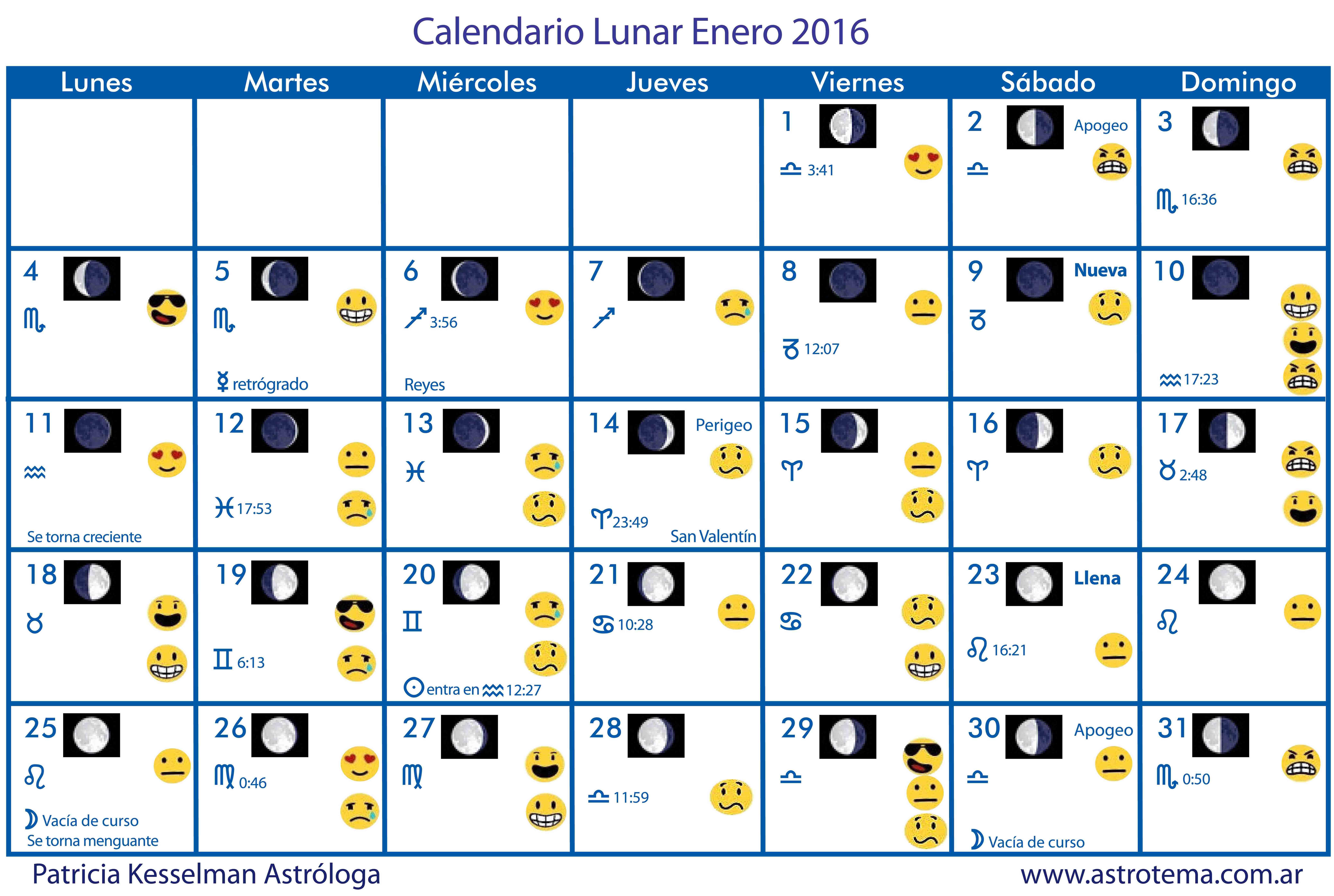 Calendario lunar enero 2016 patricia kesselman for Almanaque de la luna