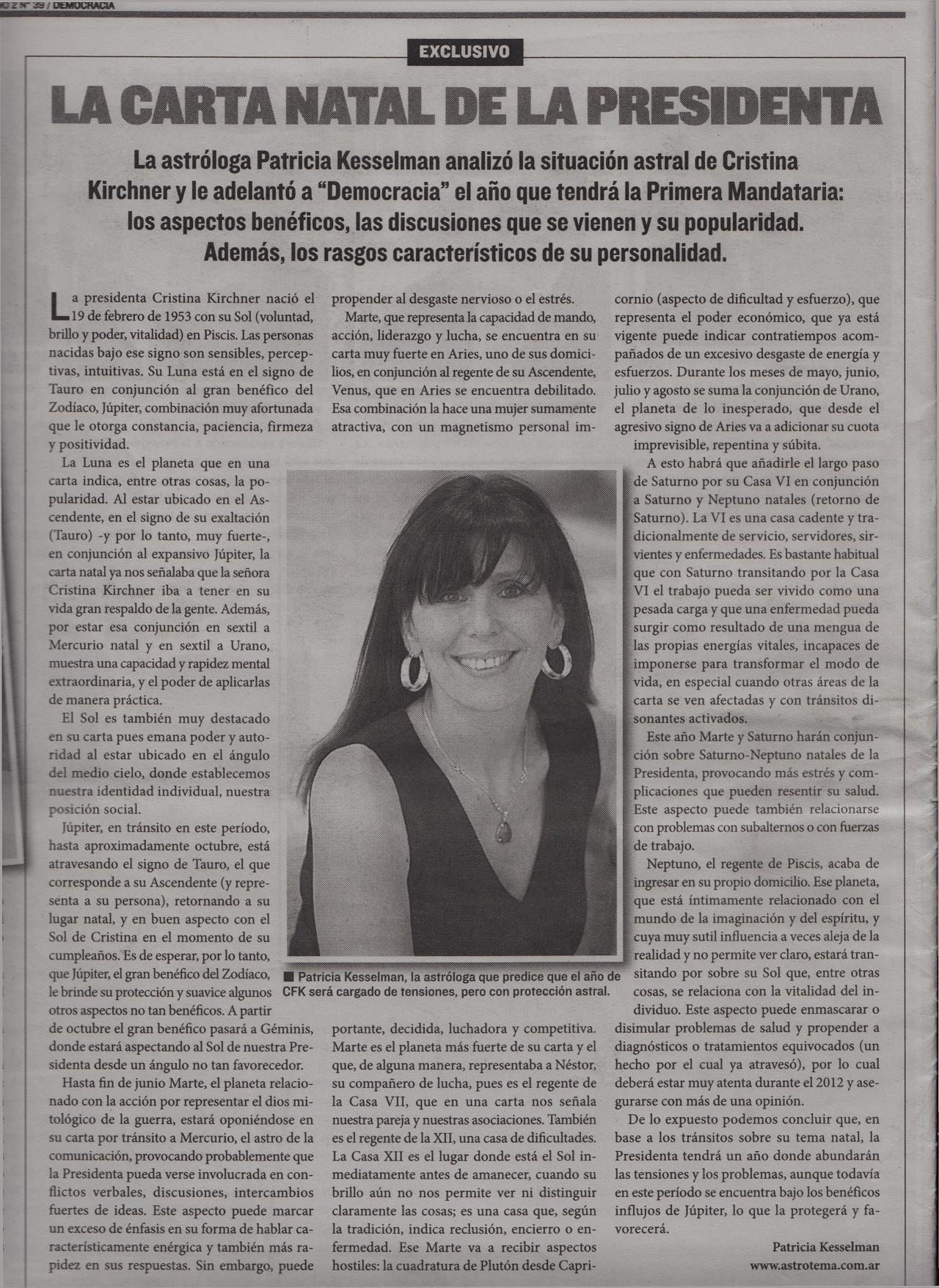 Prensa: Revista Democracia del diario Crónica - Buenos Aires 14/02/2012
