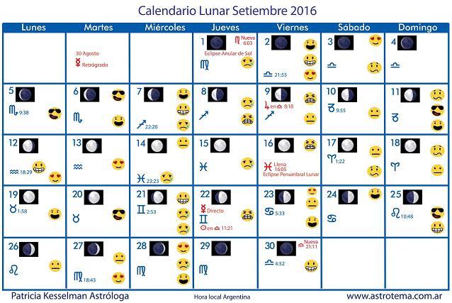 Calendario lunar de septiembre patricia kesselman for Fase lunar octubre 2016