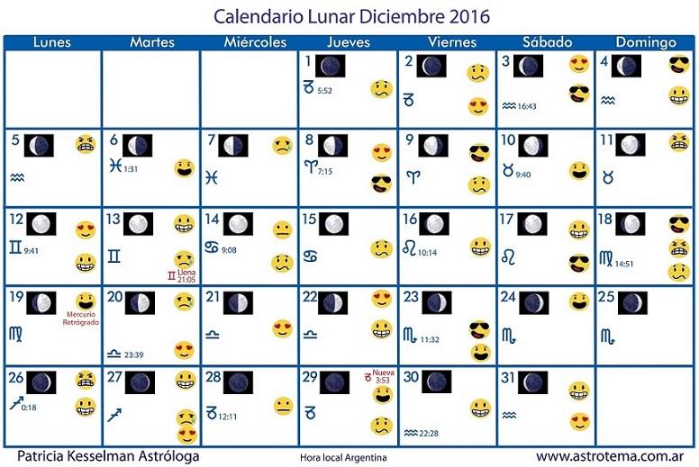 Calendario Lunar De Diciembre Patricia Kesselman